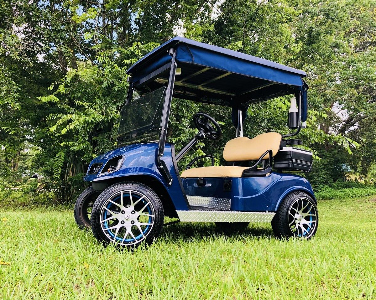 Blue EZGO with Custom blue rim inlays & custom wheels
