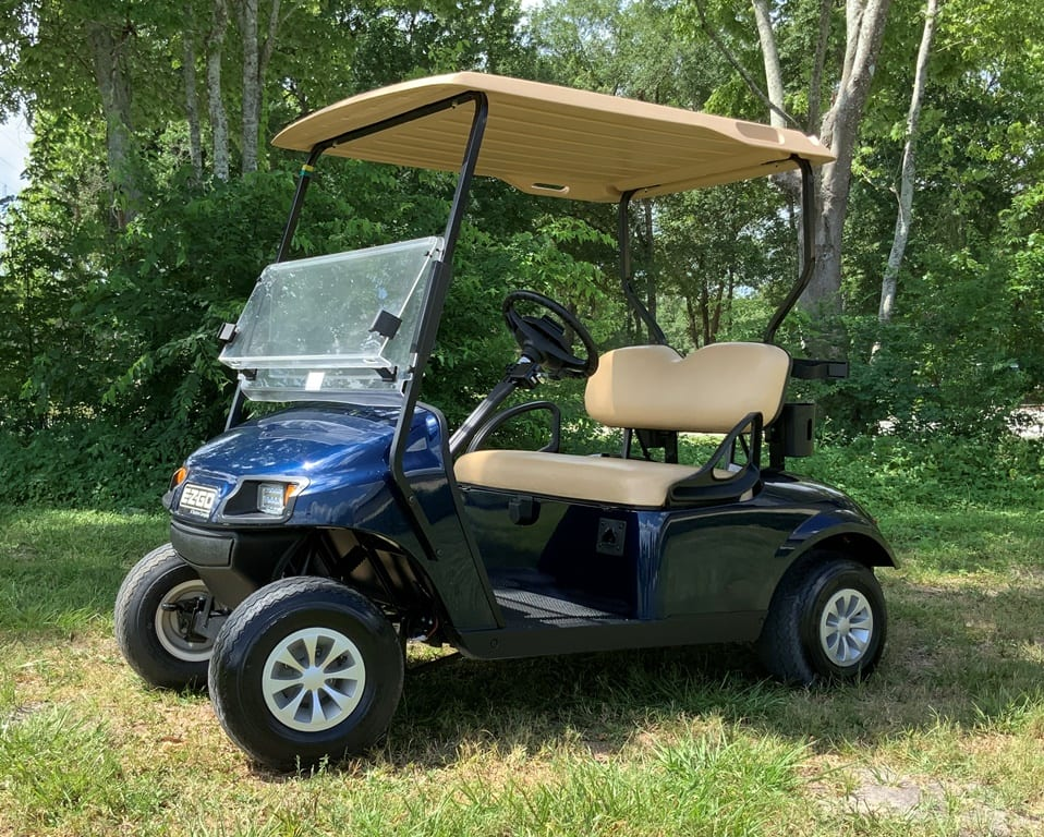 blue ezgo with std beige seats and short top 2 pass
